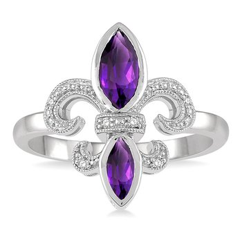 .03ct tw Diamond & Amethyst Fleur de Lis Ring in Sterling Silver