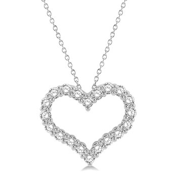 1ct tw Diamond Heart Pendant in 14K White Gold