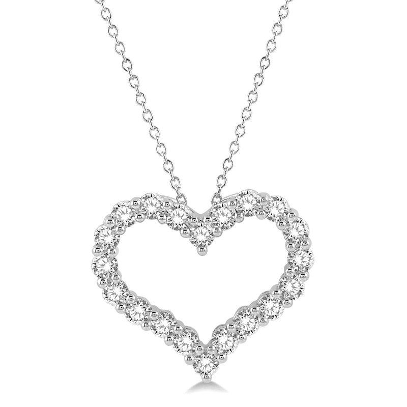 1ct tw Diamond Heart Pendant in 14K White Gold