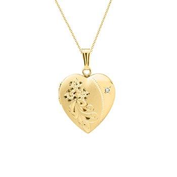 .01ct tw Diamond Heart Locket in 14K Yellow Gold