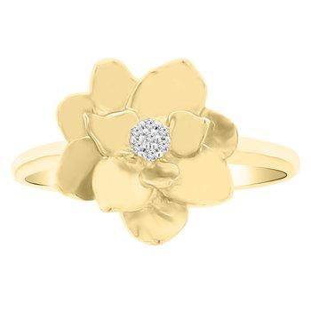 .02ct tw Diamond Nola Collection Magnolia Ring in 10K Yellow Gold