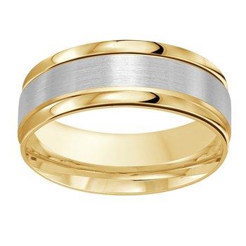 8mm Wedding ring in 14K White Gold & Yellow Gold