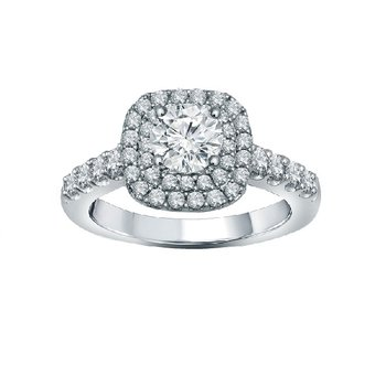 1 1/4ct tw Diamond WOW Halo Engagement Ring in 14K White Gold