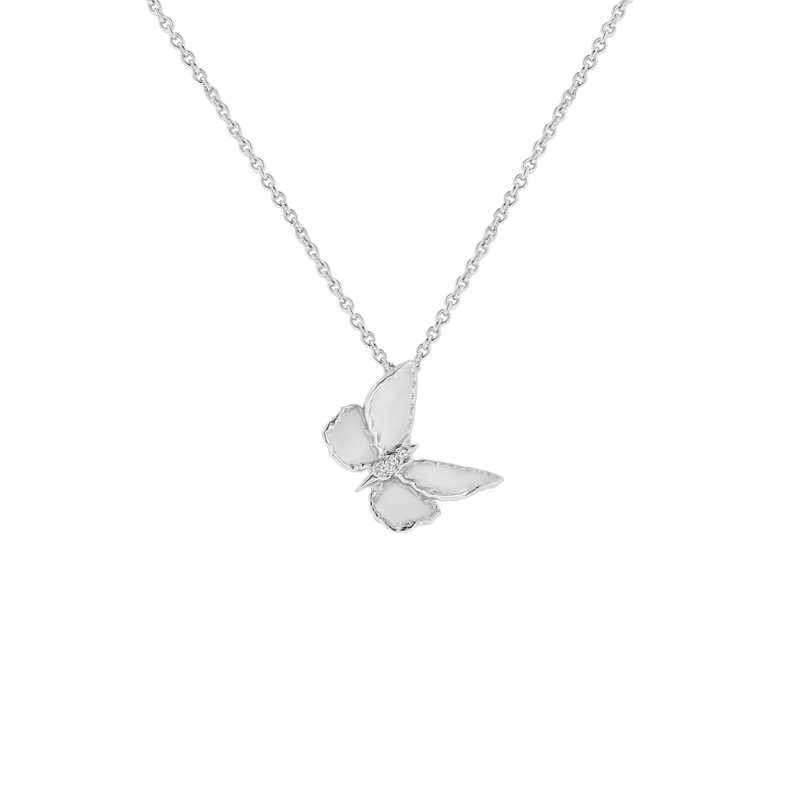 .01ct tw Diamond Garden District Collection Butterfly Necklace in Sterling Silver