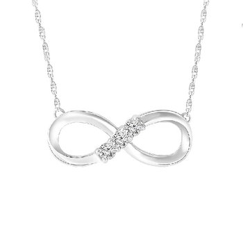 1/10ct tw Diamond Infinity Necklace in 10K White Gold