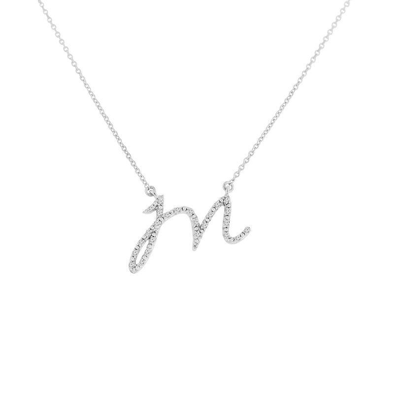 1/14ct tw NewBorn Lab Created Diamond Love Letter Necklace in Sterling Silver