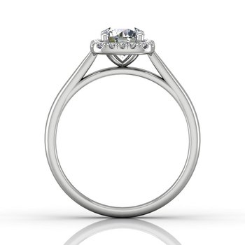 7/8ct tw Diamond Halo Engagement Ring in 14K White Gold