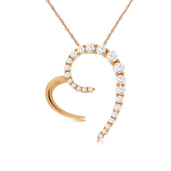 3/8ct tw Diamond Heart Necklace in 14K Rose Gold