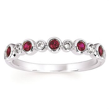 1/10ct tw Diamond & Created Ruby July Birthstone Ring in 14K White Gold