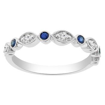 1/4ct tw Diamond & Blue Sapphire in 14K White Gold