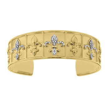 1/4ct tw Diamond 7 Inch Nola Collection Fleur De Lis Cuff Bracelet in Sterling Silver & Yellow Gold Plating