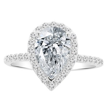 2 1/3ct tw NewBorn Lab Created Diamond Halo Engagement Ring in 14K White Gold