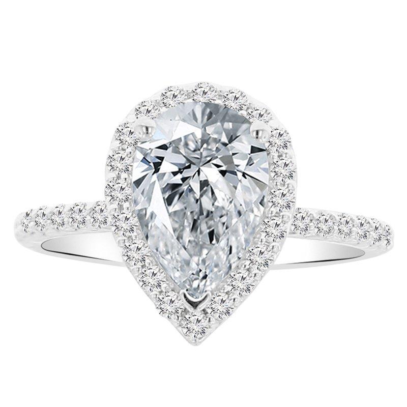 2 1/3ct tw NewBorn Lab Created Diamond Halo Engagement Ring in 14K White Gold