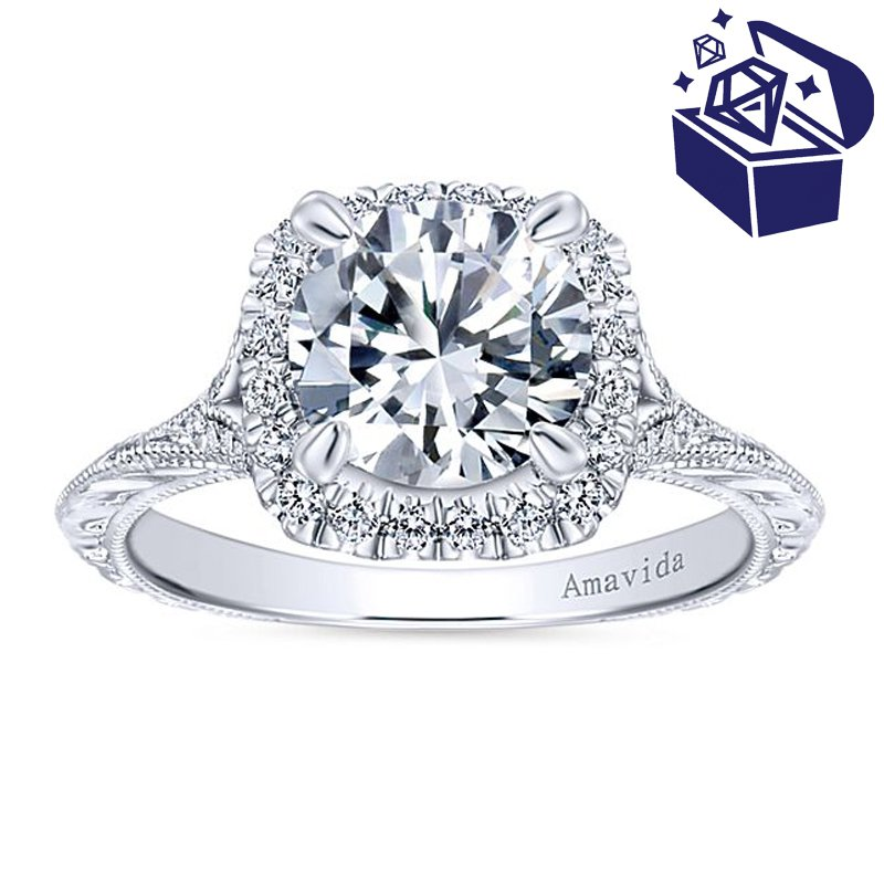 Treasure Hunt Value 1/4ct tw Diamond Halo Engagement Ring Setting in 18K White Gold