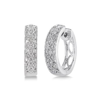 1/10ct tw Diamond Hoop Earrings in Sterling Silver