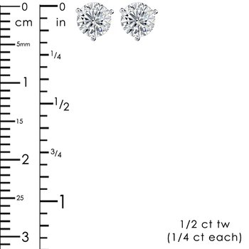 1/2ct tw NewBorn Lab Created Diamond Solitaire Stud Earrings in 14K White Gold