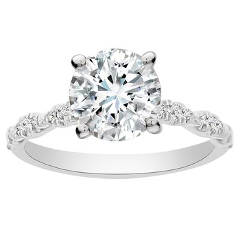 1/8ct tw Diamond Engagement Ring Setting in 14K White Gold