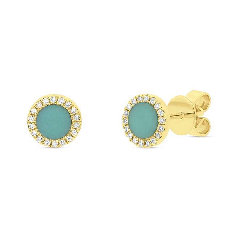 1/2ct tw Diamond & Composite Turquoise Stud Earrings in 14K Yellow Gold