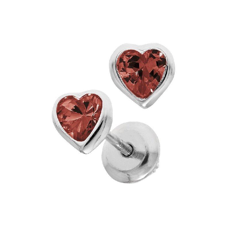 January Birthstone Heart Earrings in Sterling Silver