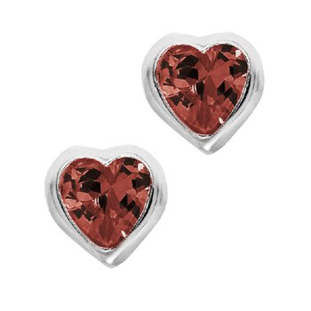 January Birthstone Heart Earrings in Sterling Silver