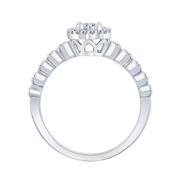 1/5ct tw Diamond Halo Engagement Ring in 10K White Gold