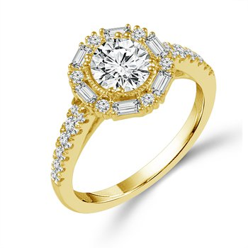 1 1/2ct tw Diamond Halo Engagement Ring in 14K Yellow Gold
