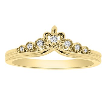 1/14ct tw Diamond Fleur De Lis Stackable Ring in 14K Yellow Gold