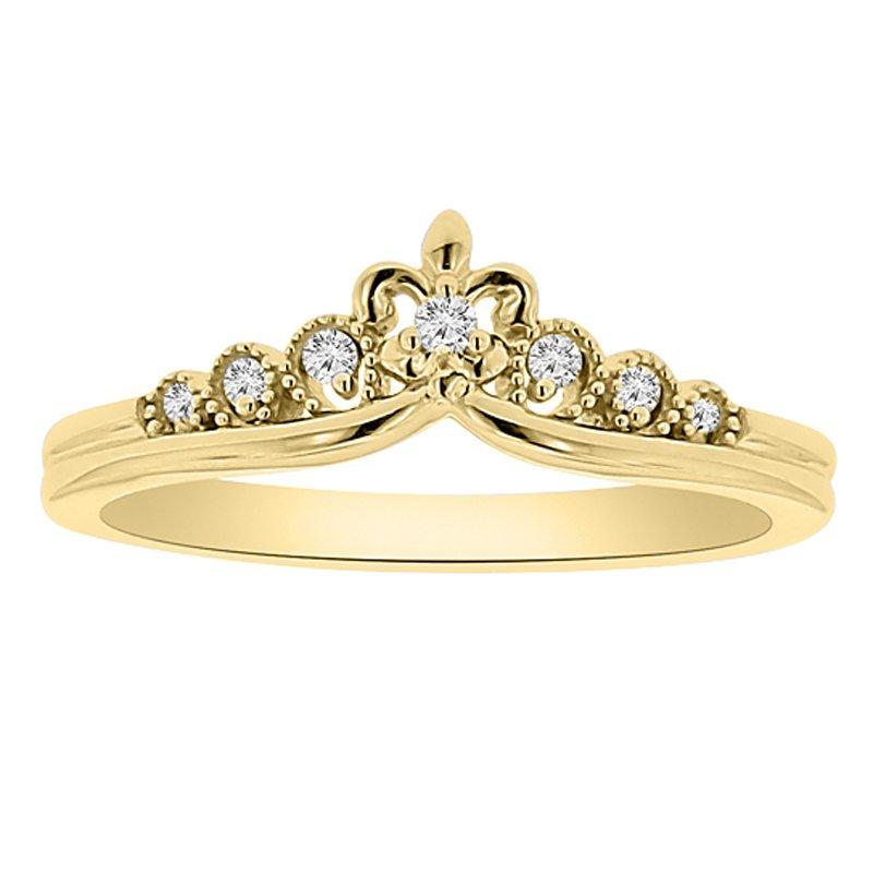 1/14ct tw Diamond Fleur De Lis Stackable Ring in 14K Yellow Gold