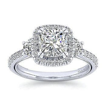 2 5/8ct tw Diamond Halo Engagement Ring in 14K White Gold