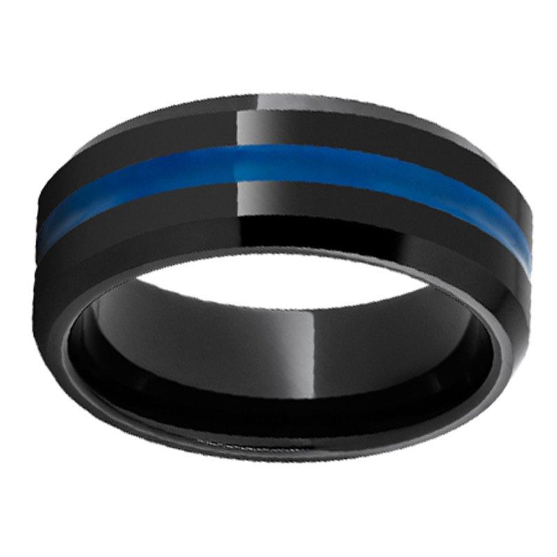 8mm First Responder Wedding Ring in Black Ceramic