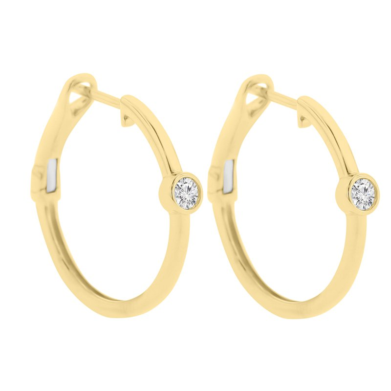 1/8ct tw Diamond Hoop Earrings in 14K Yellow Gold