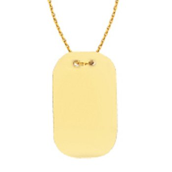 Engravable Rectangle Necklace in 14K Yellow Gold