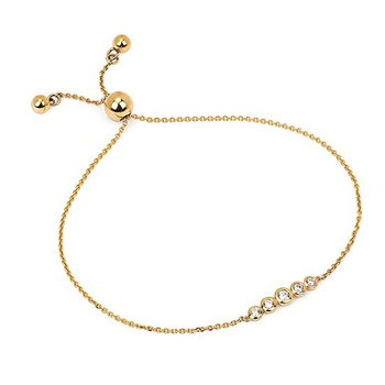 1/8ct tw Diamond Bolo Bar Bracelet in 14K Yellow Gold