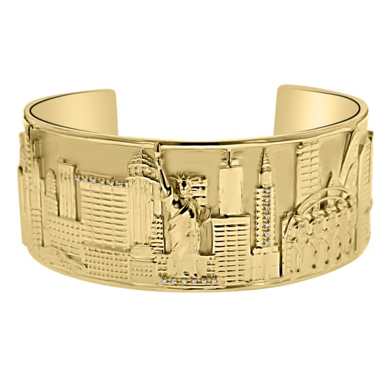 .05ct tw Diamond New York City Theme Cuff in Sterling Silver & Yellow Gold Plating