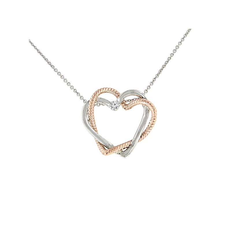 .02ct tw Diamond Interwoven Heart Necklace in Sterling Silver & 10K Rose Gold
