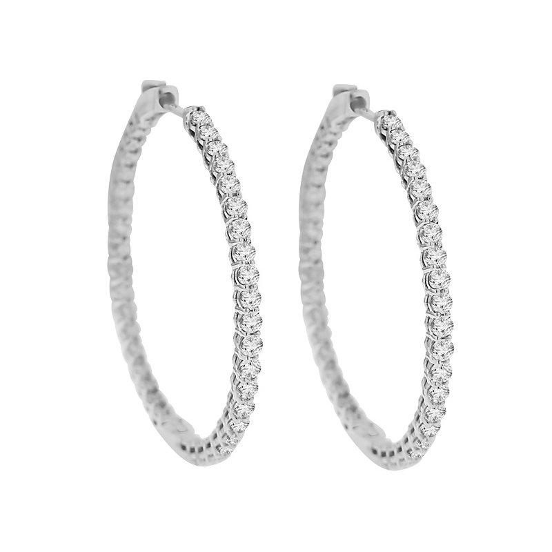 3ct tw NewBorn Lab Created Diamond Hoop Earrings in 14K White Gold