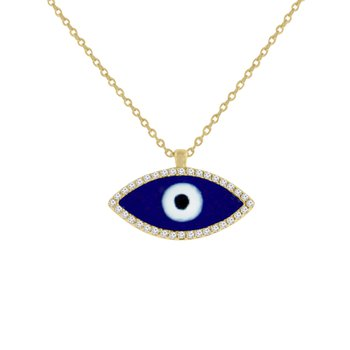 1/10ct tw Diamond Evil Eye Necklace in 14K Yellow Gold