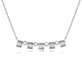1/4ct tw Diamond Bar Necklace in 14K White Gold