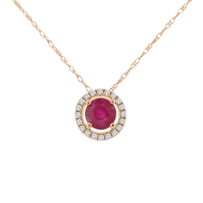 1/2ct tw Diamond & Ruby Halo Necklace in 14K Rose Gold