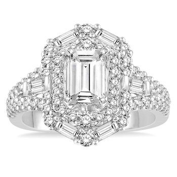 1 1/10ct tw Diamond Halo Engagement Ring Setting in 14K White Gold
