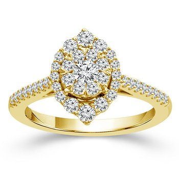 3/4ct tw Diamond Thousand Points of Light Engagement Ring in 14K Yellow Gold