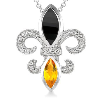.03ct tw Diamond, Black Onyx, & Citrine Fleur de Lis Necklace in Sterling Silver