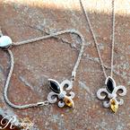 .03ct tw Diamond, Black Onyx, & Citrine Fleur de Lis Necklace in Sterling Silver