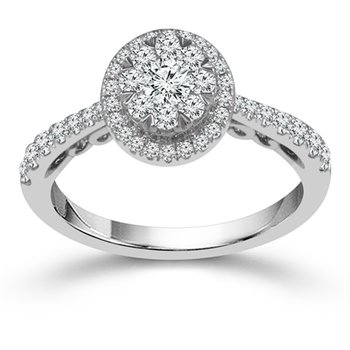 3/4ct tw Diamond Halo Thousand Points of Light Engagement Ring in 10K White Gold