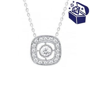 Treasure Hunt Value 1/8ct tw Diamond Halo Necklace in 14K White Gold