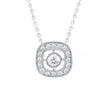 1/8ct tw Diamond Halo Necklace in 14K White Gold