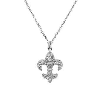 1/14ct tw Diamond Fleur De Lis Necklace in 14K White Gold