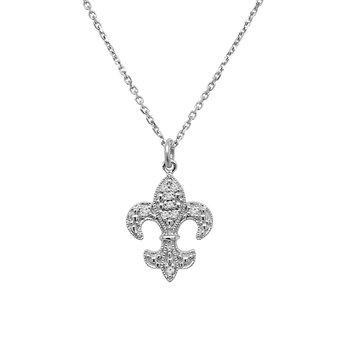 1/14ct tw Diamond Fleur De Lis Necklace in 14K White Gold
