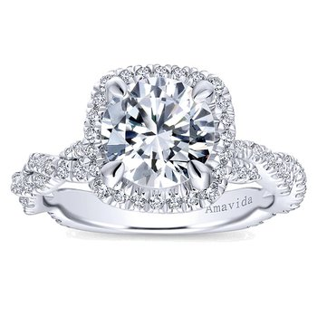 2ct tw Diamond Halo Engagement Ring in 18K White Gold