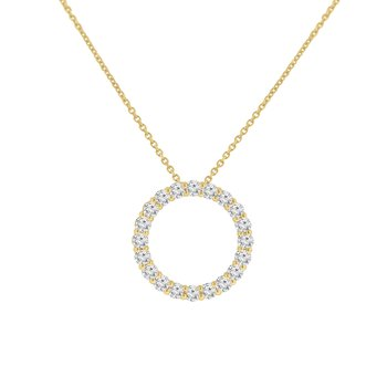 1ct tw NewBorn Lab Created Diamond Circle Necklace in 14K Yellow Gold